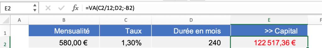 Formule calcul Capital emprunté sur un fichier Excel