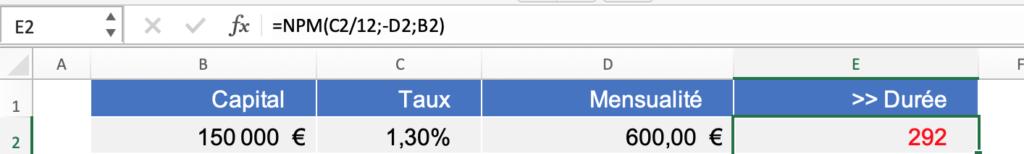 Calcul durée d'un crédit sur un fichier Excel
