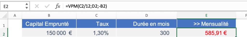 Formule calcul mensualité de crédit sur fichier Excel