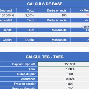 Calcul Mensualité, taux, durée, capital, TEG sur Excel